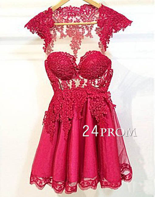 Red round neck tulle lace short prom dress, homecoming dress