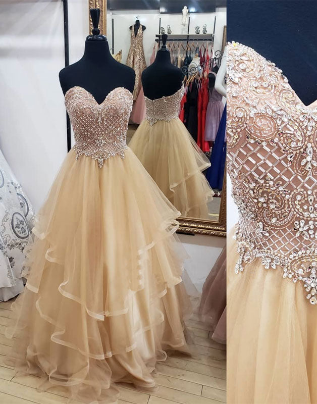 Champagne sweetheart tulle beads long prom dress, evening dress