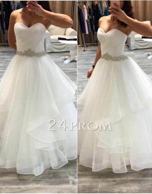 Custom made sweetheart tulle white long prom gown, wedding dress