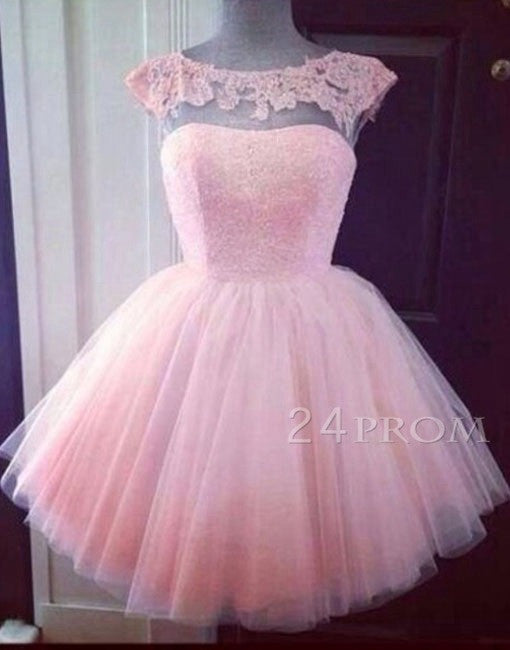 Pink Tulle Round Neck Short Lace Prom Dress, Homecoming Dress