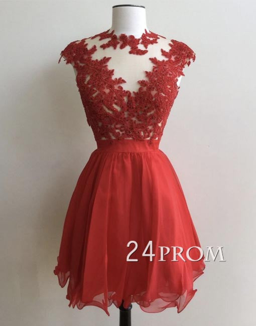 Custom made round neck red chiffon lace short prom dress, homecoming dress