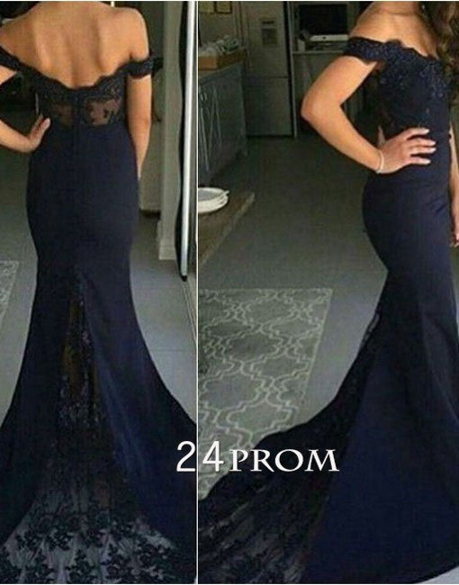 Custom Made Lace Off Shoulder Long Prom Dresses, Evening Dresses