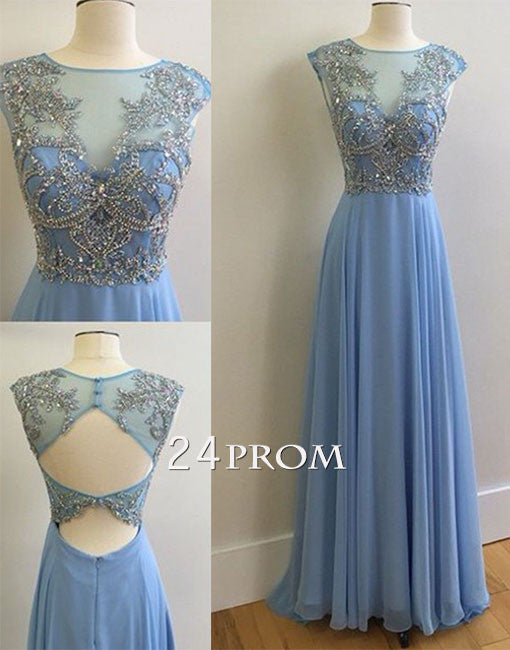 Custom made Blue A-line chiffon sequin long prom dress for teens, evening dress