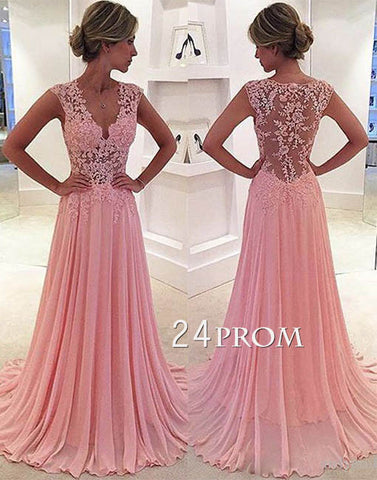 A-line v neck pink chiffon lace long prom dress