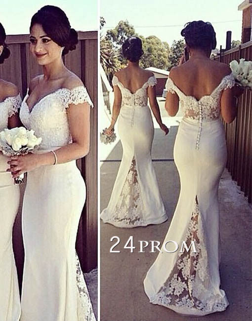 White Lace Off Shoulder Mermaid Long Prom Dresses, Formal Dresses