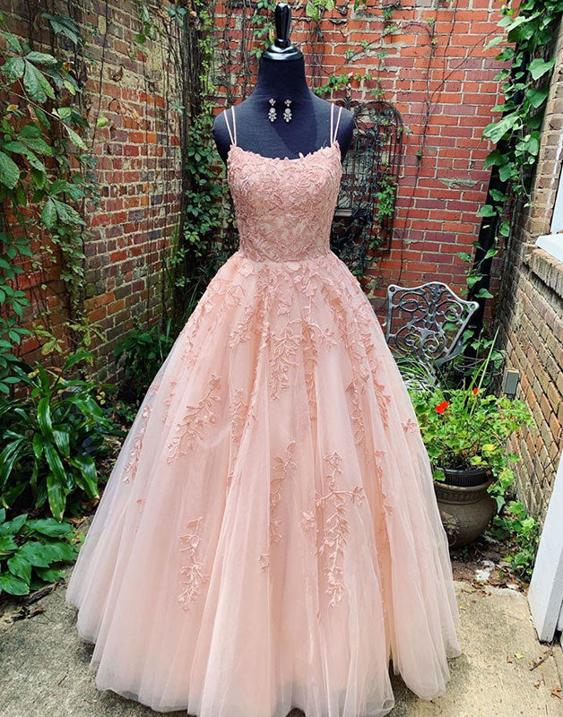 Pink tulle lace long prom dress pink tulle lace evening dress