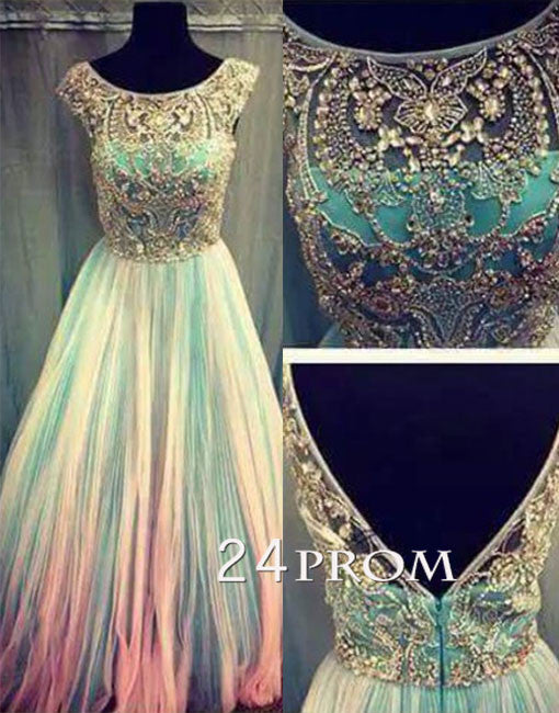 Custom made round neck tulle sequin long prom dress, evening dress