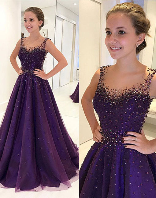 Purple round neck tulle beads long prom dress, purple evening dress - 24prom