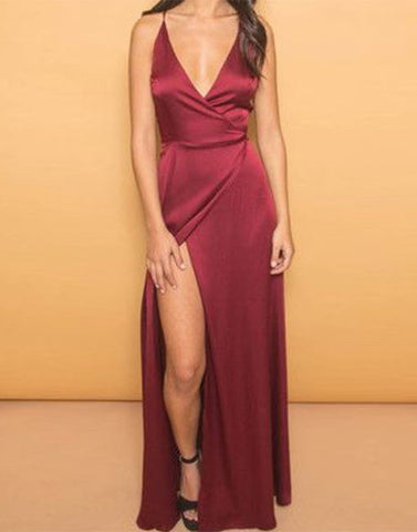 burgundy v neck long prom dress, formal dress