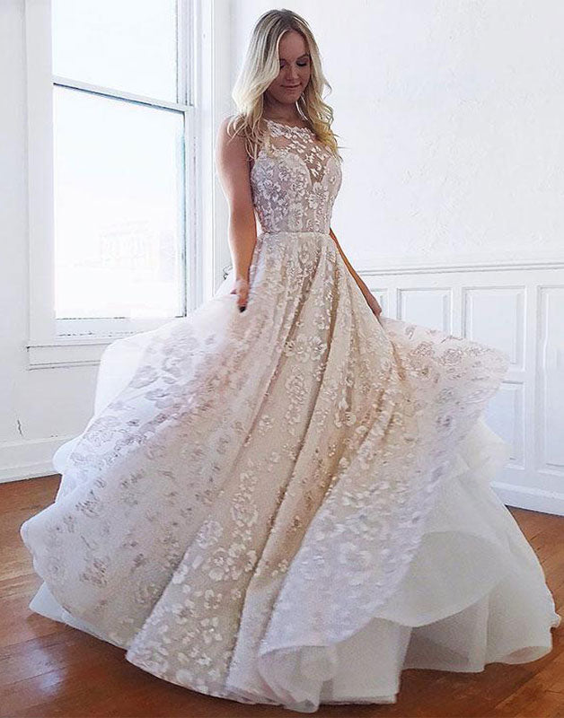 Unique lace long prom dress, lace evening dress