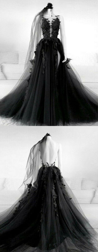 Black v neck tulle lace long prom dress black tulle lace formal dress