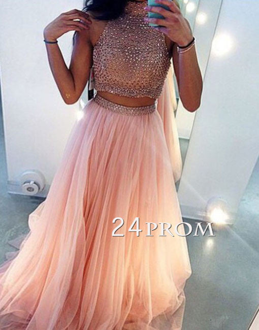 Custom Made Light Pink Two Pieces Long Prom Dress, Evening Dress