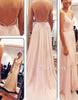 Simple chiffon pink long prom dress, bridesmaid dress