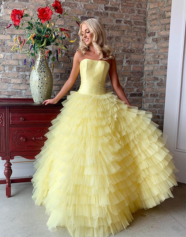 Yellow tulle long prom dress, yellow evening dress