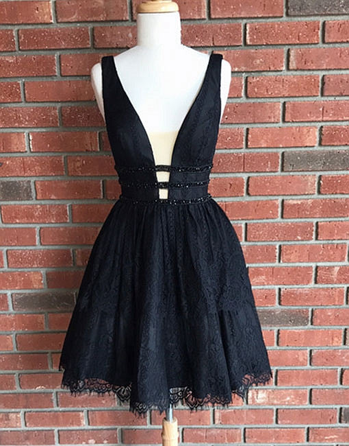 Cute black lace v neck short prom dress, lace homecoming dress