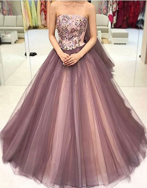 Unique sequin tulle long prom dress, formal dress