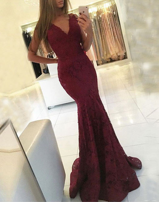 Burgundy mermaid v neck long prom dress, burgundy evening dress