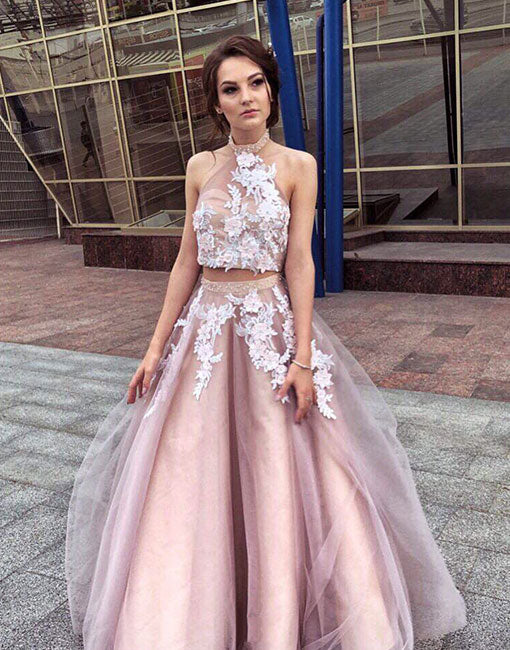Stylish two pieces lace tulle long prom dress, evening dress