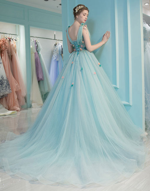 Blue v neck tulle long prom dress, blue evening dress