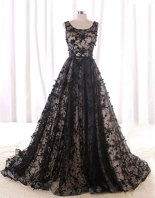 Black round neck tulle long prom dress, black evening dress