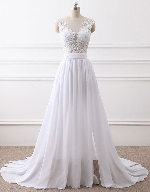 White round neck lace chiffon long prom dress, white evening dress