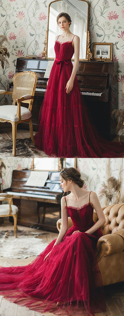 Burgundy tulle long prom dress, burgundy tulle evening dress
