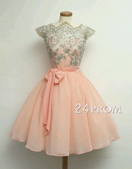 Custom Made A-line Chiffon Lace Short Prom Dresses
