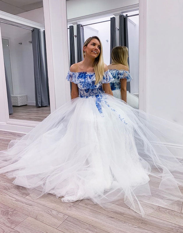 White tulle off shoulder long prom dress, white tulle formal dress