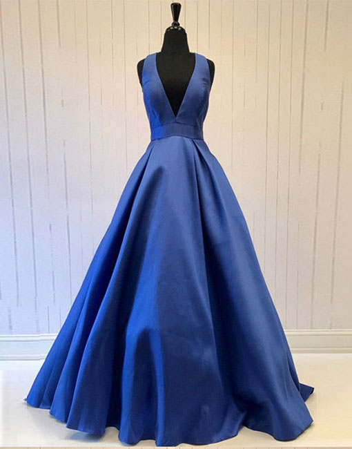 Blue v neck long prom dress with bow, blue evening dress