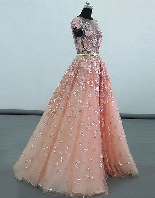 Pink lace sequins long prom gown, pink evening dress