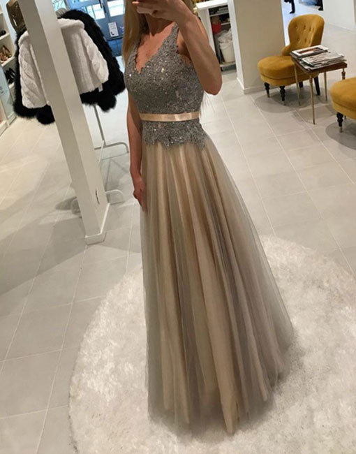 Unique v neck lace tulle long prom dress, lace evening dress