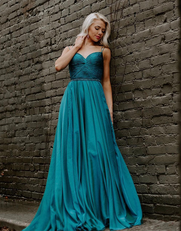 Green sweetheart chiffon long prom dress green evening dress