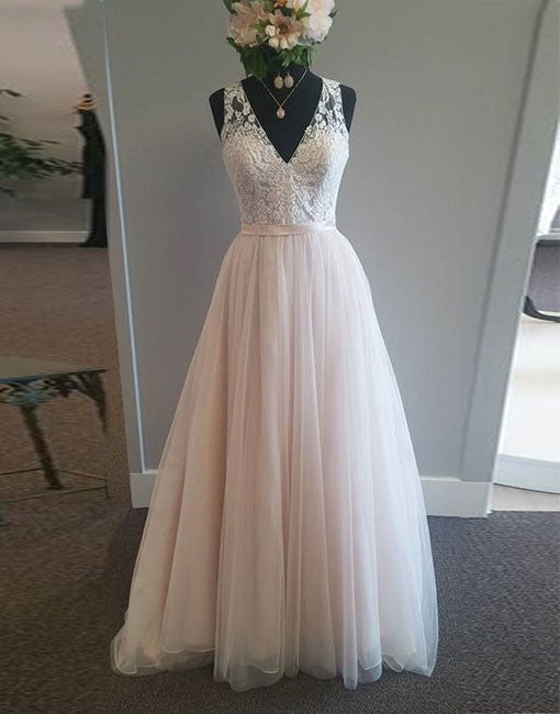 Light Pink V Neck Tulle Lace Long Prom Dress Lace Evening Dress