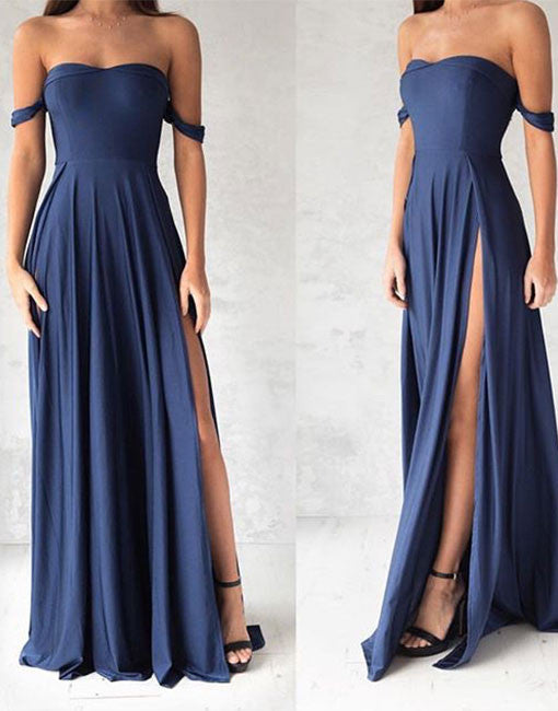 Simple sweetheart chiffon blue long prom dress, evening dress