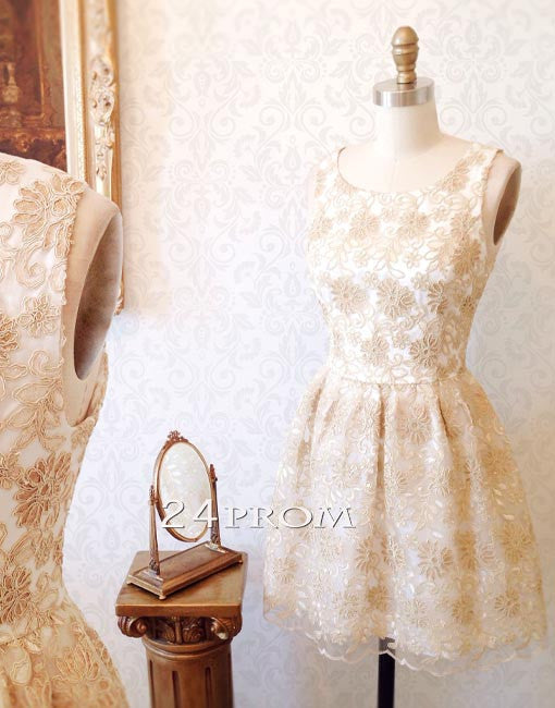 Champagne round neck lace short prom dress, homecoming dress