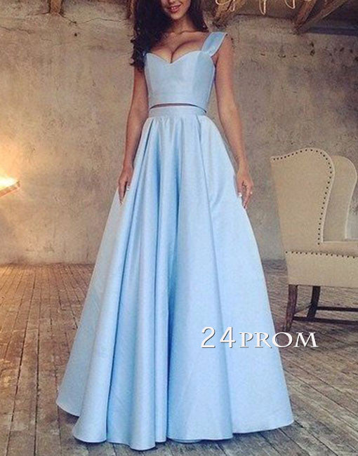 Simple blue two pieces long prom dress, blue evening dress