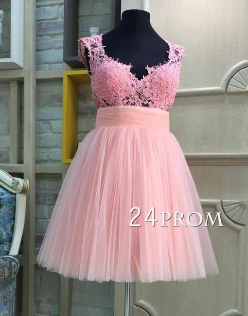 custom made tulle lace short pink prom dress, homecoming dress