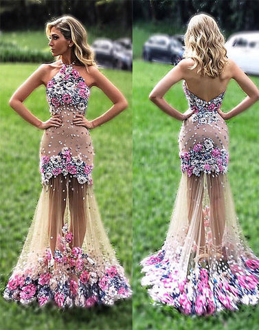 Unique tulle applique flower long prom dress, formal dress