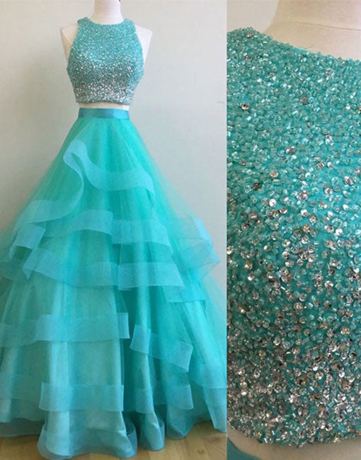 Unique green two pieces sequin long prom gown, green evening dress