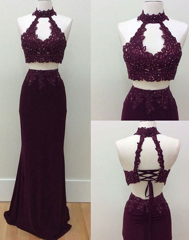 unique two pieces lace applique long prom dress, lace evening dress