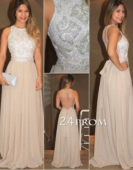 Champagne Chiffon Sequin Long Prom Dress, Evening Dress