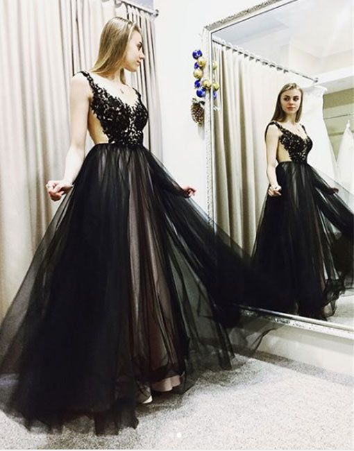 Black lace tulle long prom dress, blue evening dress