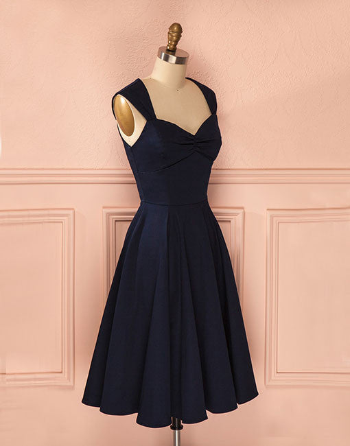 Cute A line dark blue short prom dress, homecoming dress