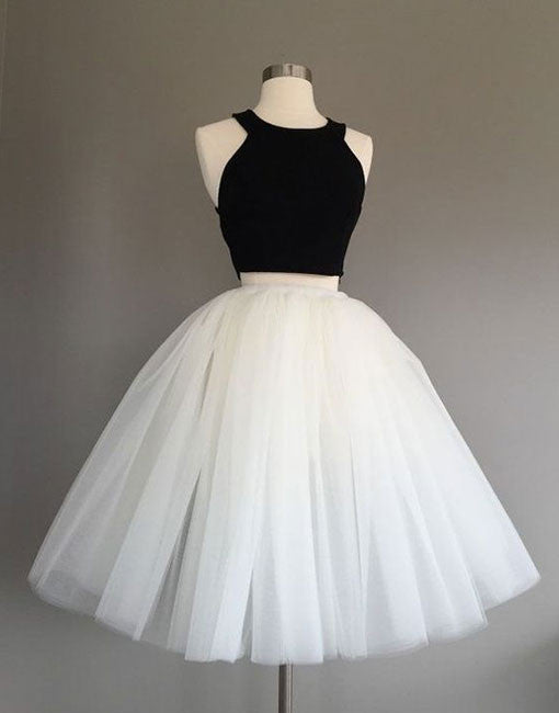 Cute two pieces black and white short prom dress, homecoming dress