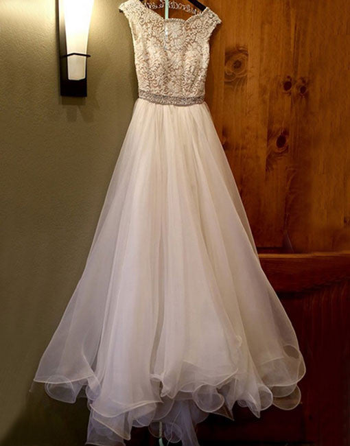 White lace tulle A lin long prom dress, white evening dress