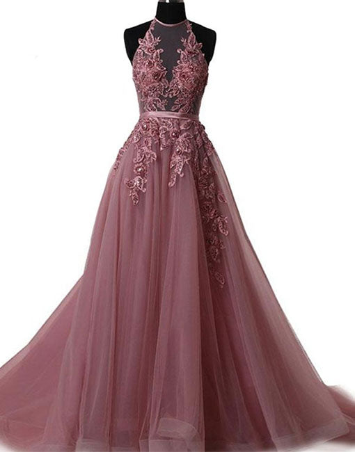 A line lace tulle backless long prom dress, evening dress