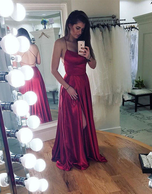 Simple backless long prom dress, burgundy evening dress