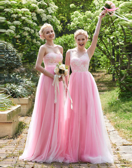 Beautiful pink lace tulle long prom dresses, bridesmaid dress