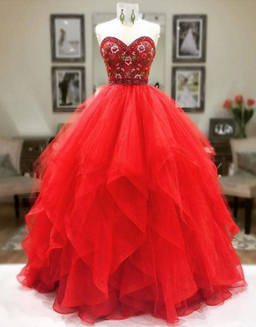 Red tulle sweetheart neck long prom dress, red evening dress