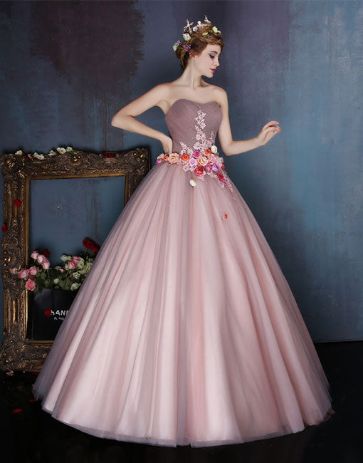Dusty pink tulle long prom dress, sweet 16 dress